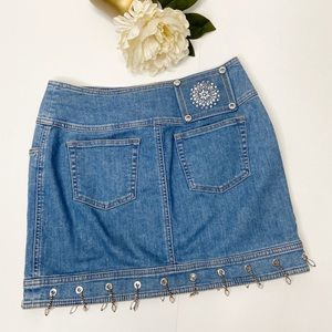 Escada Embellished Mini Denim Skirt Sz 34 / 4
